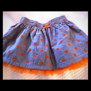Gymboree chambray with pumpkins skirt